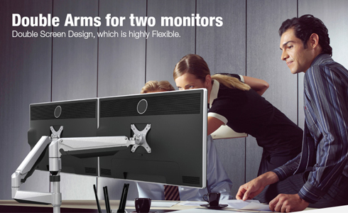 Double arm for two monitors
